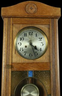 Great Vintage German Regulator Wall Clock Stained Glass