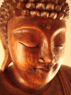 "16"" Bali Hand Carved Meditating Seated Buddha Statue"