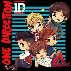 New One Direction 1D Cartoon Personel Tour 2013 Two Side Black Shirt s 2XL Fixed