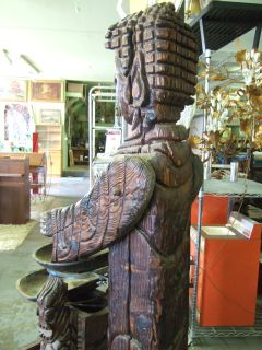 RARE Giant Carved Wood Witco Tiki Polynesian Waterfall Fountain Buddha Sculpture