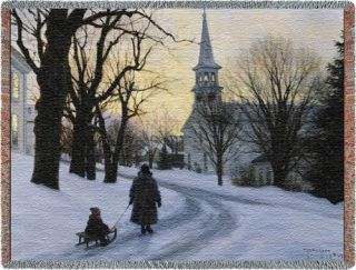 Winters Eve Snow Landscape Church Sled Throw Afghan New