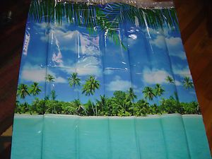 New Tropical Beach Scene Ocean Palm Tree PEVA Shower Curtain