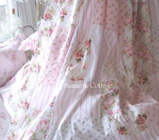 Shabby Beach Cottage Blue Chic Pink Rose Shower Curtain