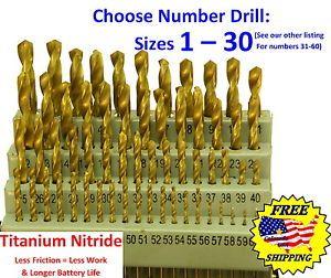 Hanson 60pc wire gauge number drill bit set number wire gauge drills choose size 1 30 titanium nitride keyboard keysfo Image collections