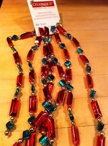 Celebrate It Christmas Bead Garland Red Green and Gold 8 Feet Long