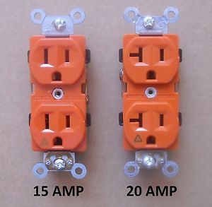 15a 250v Decorator Isolated Ground Duplex Receptacle In Orange
