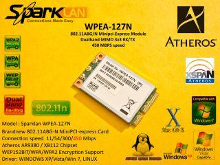 Sparklan Wpea 127N Atheros AR9380 XB112 AR5BXB11 Mini Card 450 Mbps 802 11n Abg