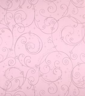 Pink Silver Glitter Wallpaper Disney DK5967 Swirl Scroll Girls Wallpaper