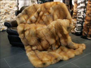 395 Canadian Red Fox Fur Throw Real Fur Rug Genuine Fur Blanket