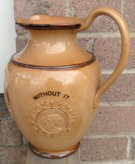 """Doulton Lambeth Motto """" Those Who Have Money """" Stoneware Large Pitcher Water Jug"""