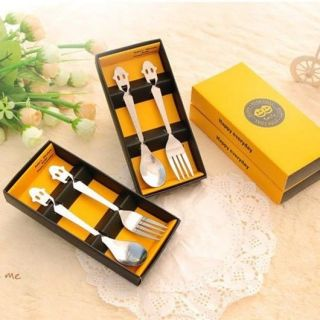 New Happy Smiley Stainless Steel Fork Spoon Set Flatware Yellow Gift Box A97