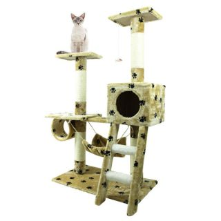 "New Paw Print Cat Tree 47"" Play Kitten Condo Furniture Scratching Post Pet House"
