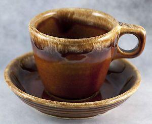 Vintage Hull Stoneware Mirror Brown Drip Ovenproof Coffee Cup Mug Saucer Set