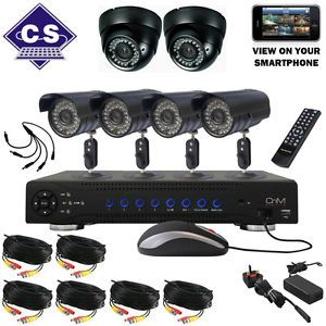 CNM Secure H 264 8 Channel 500GB DVR 6 Camera CCTV Kit Home Business System