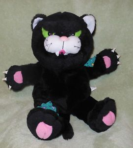 """1996 Gibson Greetings 14"""" Black Fraidy Cat Meowing Full Body Plush Hand Puppet"""