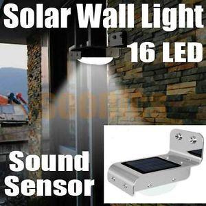 16 LED Solar Power Outdoor Yard Garden Wall Sound Sensor Activated Light Lamp
