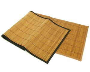 Brown Natural Bamboo Table Runners w Black Edge Trim 13x36 Linen