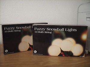 Fuzzy Snowball String Lights 2 Boxes 20 Lights Never Opened