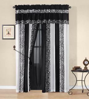 Okapi Black White Micro Fur Zebra w Giraffe Design Window Curtain Drape Set