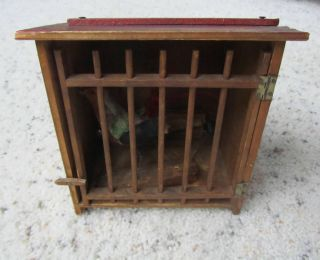 Antique Folk Art Chicken Coop Rooster Wooden Litho Pop Out Toy AAFA