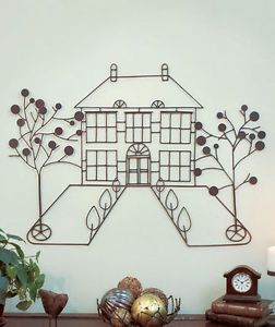 3D Metal Home House Trees Wall Art Living Room Foyer Welcoming Home Accent Decor