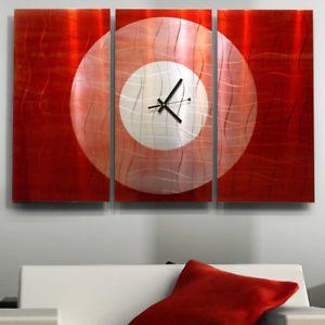 "Hand Painted Red Modern Abstract Metal Wall Art Decor ""Crimson Moon Clock"""