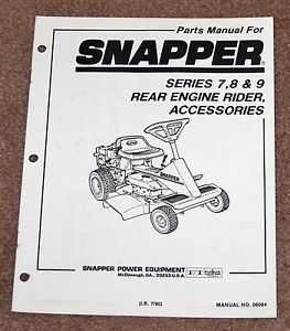 Snapper Parts Manual Rear Engine Riding Mower Accessories Series 7 8 9