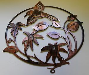 Humming Bird Metal Wall Art Decor Copper Bronze Plated