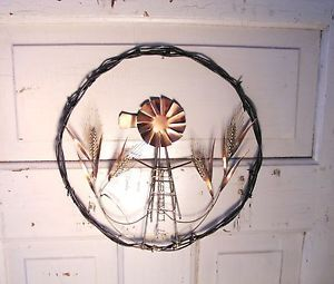Barbed Wire Wreath Sculpted Metal Art Windmill Wheat Wall Decor
