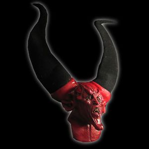 Giant Big Horns Red Devil Demon Ghoulish Adult Latex Halloween Mask 3' Feet Tall