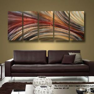 Modern Hand Painted Earth Tone Abstract Metal Wall Art Decor Cosmic Significance