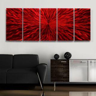 """Modern Metal Abstract Wall Art Painting Red Sculpture Decor Jon Allen 64""""X24"""""""
