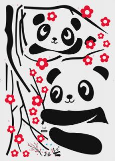 Cute Panda Flowers Spray Home Room Wall Window Decor Stickers Decals Removable