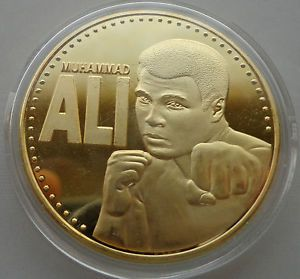 Cassius Clay Muhammad Ali 24K Gold Plated Boxing Coin