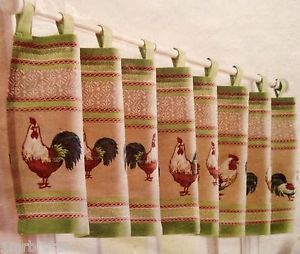 Better Homes and Gardens Rooster Valance Shabby Country Kitchen Window Treatment