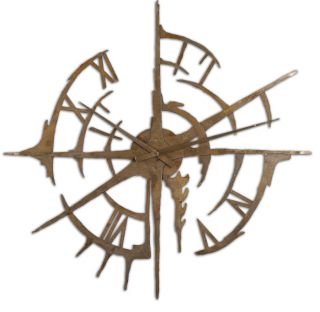 """Large Rustic Modern Disconnected Metal Wall Clock Oxidized Copper 43""""D Compass"""