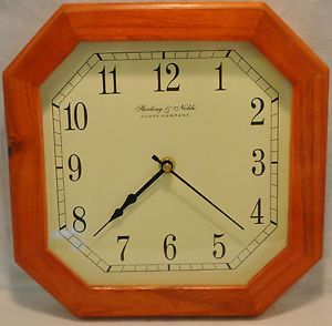 Sterling Noble Clock Co Wood Framed Wall Clock Battery Powered HD 2688
