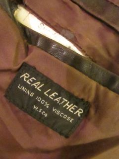 Mens Vtg Retro Brown 70s Leather Safari Cafe Racer Bomber Coat Jacket Medium 38