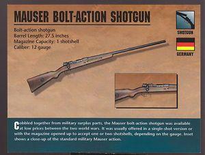 Mauser Bolt Action Shotgun 12 Gauge Germany Atlas Classic Firearms Gun Card