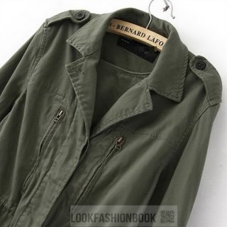 Womens Military Army Green Jacket Coat Outerwear Multi Pocket M 65 Winter