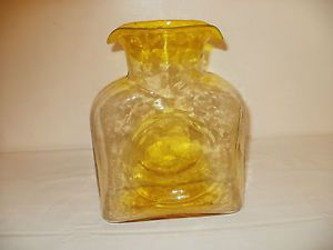 Vintage Unique Blenko Yellow Glass Water Pitcher with Manganese Glows
