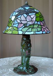 Vintage Tiffany Style Stained Glass Pink Water Lily Lotus Lamp Mosaic Base