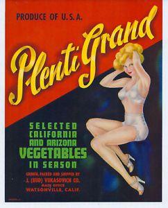 Plenti Grand Brand Crate Label Watsonville CA Vegetable