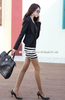 Sexy Women's Black Mini Dress All Match Long Sleeve Striped Patchwork Round Neck