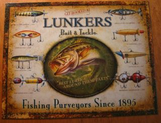Lunkers Bait Tackle Fishing Lure Fisherman Cabin Lake Lodge Decor Sign New