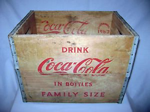 Vintage 1963 Coca Cola Wooden Coke Bottle Carrying Crate from Chattanooga TN