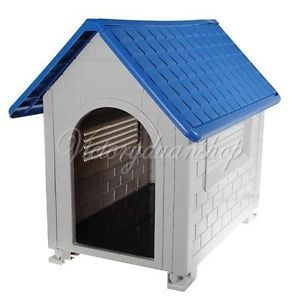 Large Plastic Pet Dog Puppy Cat House Home Room Kennel Outdoor Shelter Apex Roof