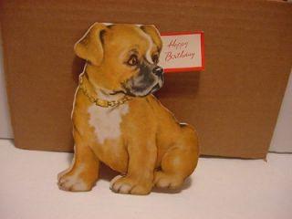 Vintage 1950 Boxer Dog Happy Birthday Card Double Sided Shape Card Sweet Dog