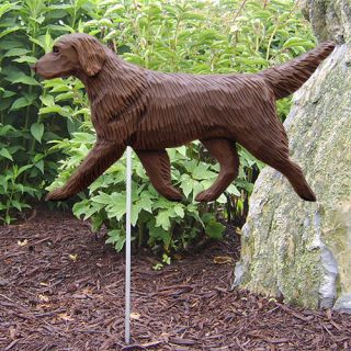 Flat Coated Retriever Dog Figure Garden Stake Home Yard Garden Products Gifts