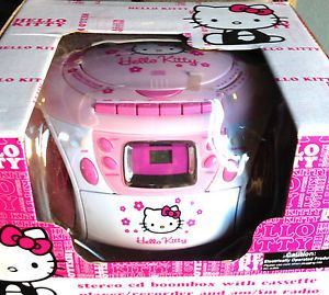 Hello Kitty Stereo CD Boombox with Cassette Player Recorder and Am FM Radio